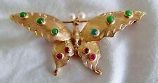 Solid 14K Gold Butterfly Brooch Artist Signed R over J in Diamond 6.9g Not Scrap