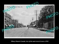 OLD LARGE HISTORIC PHOTO OF TILBURY ONTARIO CANADA, THE MAIN ST & STORES c1910