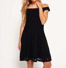 Superdry Katerina Bardot Lace Dress Black - L/uk 14