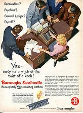 1951 Print Ad of Burroughs Sensimatic Accounting Machine mechanical brain