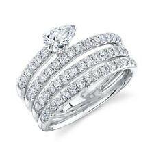 Diamond Spiral Swirl Ring 14K White Gold Pear Round Cut Natural Cocktail 1.28 CT