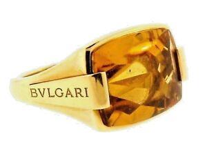 GROOVY Bvlgari 18k Yellow Gold & Citrine Ring Circa 1990