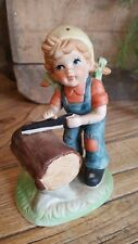 Girl in Overalls Saw Brinns Figure Ceramic Porcelain Hand Painted Made in Taiwan
