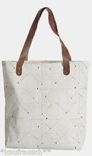 House Doctor Shopper Bag Tasche Einkaufstasche Ledergriffe Grafikmuster Dreieck