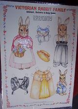 Victorian Rabbit Family Paper Dolls (1985) Merrimack (unused) Hong Kong