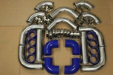 BLUE FIMC INTERCOOLER+TURBO PIPING KIT COUPLER CLAMPS SUPRA 1JZGTE 2JZGTE 7MGTE