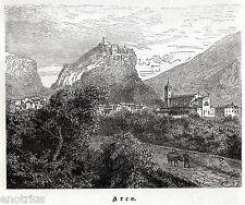 ARCO: Panorama. Valle del fiume Sarca Trento.Trentino.Tirolo. Stampa Antica.1876