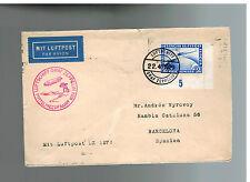 1929 Germany Lz 127 Graf Zeppelin cover to Barcelona Spain Mediterranean Flight