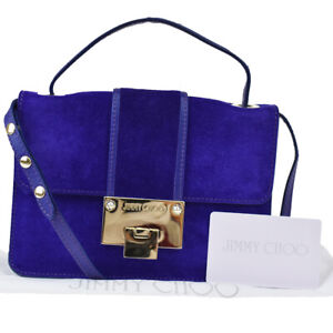 Authentic JIMMY CHOO Logo 2Way Mini Hand Bag Suede Leather Purple Italy 04BS404