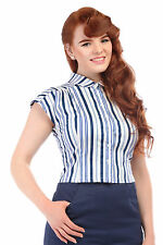 Collared Blouses Fitted Striped Tops & Shirts for Women