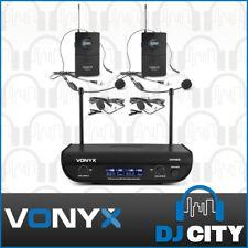 Dual Wireless Bodypack Microphone Systems 2x UHF Headset/Lapel Mics - Vonyx WM82