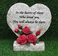 HEART & ROSE MEMORIAL PLAQUE WITH VERSE FOR GRAVE, GARDEN  OR CEMETERY ORNAMENT