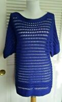 CHICO'S - BLUE BOAT NECK OPEN WEAVE SHORT SLEEVE TUNIC STYLE KNIT TOP -CHICO'S 1