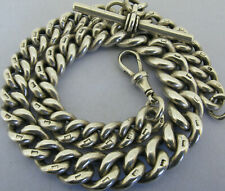 More details for heavy antique solid sterling silver albert pocket watch chain & t-bar bir 1903