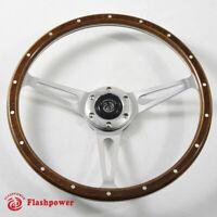 14'' Classic Riveted Laminated wood steering wheel Restoration MG VW SuperBeetle