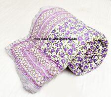 Indian Traditional Jaipur Razai 100%Cotton Floral Print Quilt Multi-Color Double