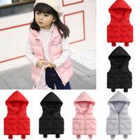 AB Unisex Infant Baby Girl Boy Sleeveless Hooded Warm Waistcoat Vest Clothes UK