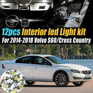 12Pc White Car Interior LED Light Bulb Kit for 2014-2018 Volvo S60/Cross Country