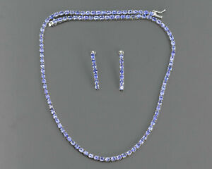 925 Sterling Silver 4X3MM Natural Tanzanite Gemstone Tennis Necklace & Earring