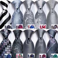 HT Men Tie Set Silk Necktie Hankie Cufflinks Grey Black Striped Solid Geometric