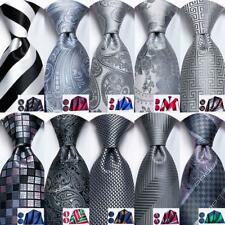 Mens Ties Set Silk Necktie Hankie Cufflinks Grey Black Striped Solid Geometric