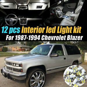 12Pc Super White Car Interior LED Light Bulb Kit for 1987-1994 Chevrolet Blazer