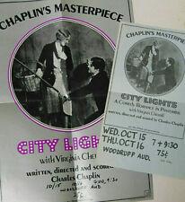 "Charlie Chaplin City Lights 1973 Re-Issue 14x20"" Movie Poster + 8x14"" Insert"