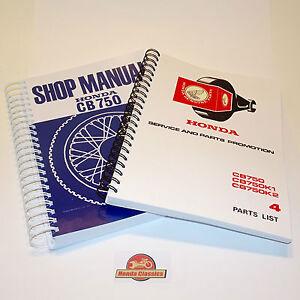 Honda CB750 Factory Workshop Shop Manual + Parts List Book, Reproduction. HWM102