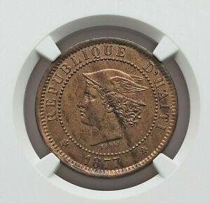 1877 IB-CT HAITI REPUBLIC COPPER ESSAI  20 CENTIMES NGC PROOF-63 RED & BROWN