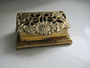 Vintage Art Nouveau Style Brass Stamp Box Sunflower Design Desk Item Gift