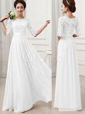 White Long Dress Lace and Chiffon Women Prom Dress With Sleeves New S (US 0)