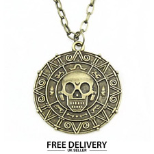 Pirates of the Caribbean Necklace Charm Medallion Coin jewellery  Bronze UK New