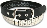 2 ROW PYRAMID BLACK LEATHER STUDDED BELT PUNK ROCK COOL BELT BELTS 32 - 34