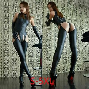 Women PU Leather sleeveless Shinny Catsuits crotchless Bodysuit+stockings+gloves