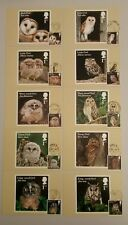 2018 OWLS SET OF 10 PHQ POSTCARDS USED FRONT