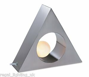 DECORATIVE SWITCHED BRUSHED STEEL / OPAL BEDSIDE TRIANGLE TABLE LAMP 5486BS