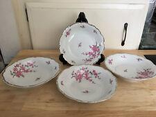 "Four (4) Edelstein Bavaria Madame Butterfly 8"" Coupe Soup Bowls Platinum Trim"
