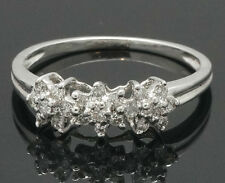 14Carat White Gold Diamond (0.20ct) Triple Daisy Cluster Ring (Size N 1/2)
