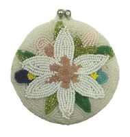 Vintage Beaded Purple Flowers Coin Purse Hand Made In Korea Clasp Closure
