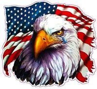 2x American REFLECTIVE 3M Flag Eagle Trump Decal Sticker Toolbox Car helmet USA