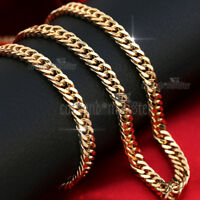 18K GOLD FILLED CUBAN CURB CHAIN RING LINKS SOLID MENS WOMENS BRACELET NECKLACE