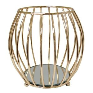New Decorative Curved Gold Metal Tealight Candle Holder with Mirror Base