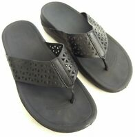 Fitflop Lattice Womens Size 8 Perforated Thong Sandals Black Slides Flip Flops