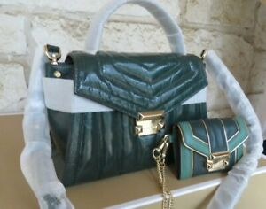 NEW Michael Kors Whitney Quilted Patent Leather Satchel, Set, or Wallet Green