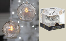 GANZ Set/2 Silver/Gold Leaf LUXURYLITE LED Glass Ornaments w/flickering flame