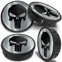 4x 60mm - 56mm Universal Car Black Skull Rims Alloy Wheel Center Hub Centre Caps