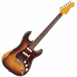 Vintage V6H Icon Electric Guitar - Distressed Tobacco Sunburst