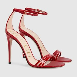 Gucci Red Patent Leather Strappy Ankle Strap Sandals  EU40