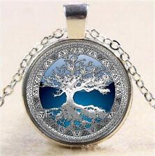Metatron Art Photo Cube Cabochon Glass Tibet Pendant Silver Chain Necklace AU-2