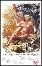 Hampl Petr 1994 Exlibris C3 Mythology Danae Erotic Erotik Nude Nudo Woman 128